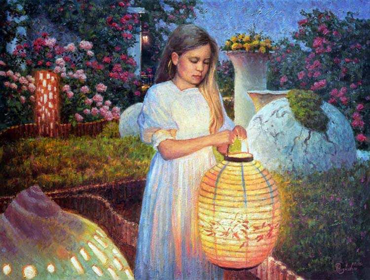 The girl with Chinese lantern.