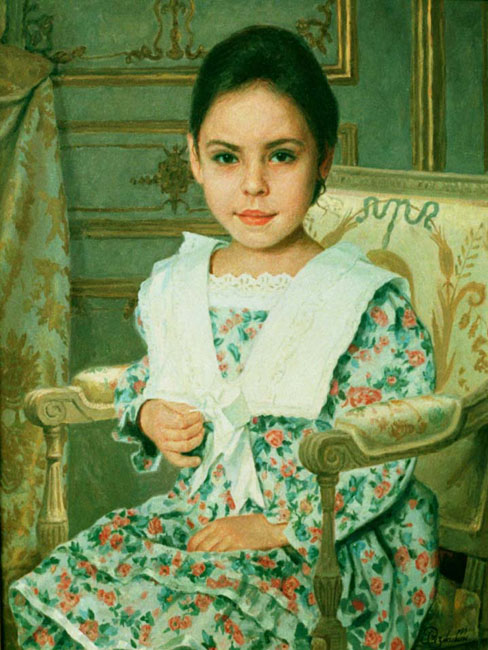 Children's portrait in an armchair.
