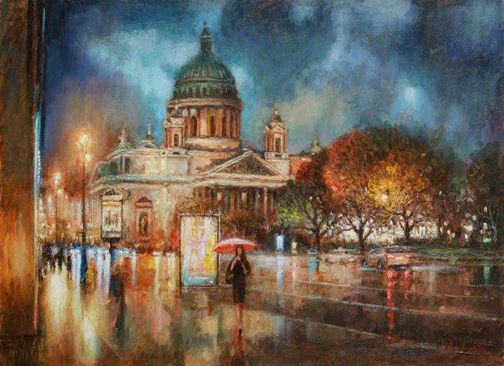 Autumn rain in St. Petersburg.