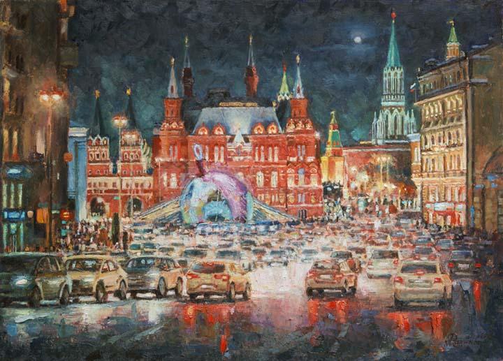 Neon evening on Tverskaya.