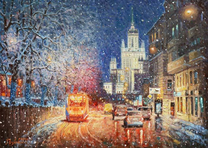 Заискрился снежный город.