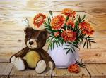 Valevskaya Valentina - A teddy bear and marigolds.