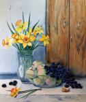 Valevskaya Valentina - Still life with daffodils under