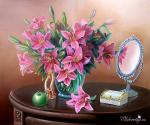Valevskaya Valentina - Still life with lilies.