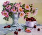 Valevskaya Valentina - Flowers and cherries.