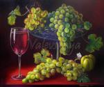 Valevskaya Valentina - Grapes in a still life.