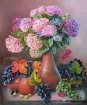 Valevskaya Valentina - Grapes and hydrangea.