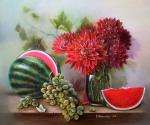 Valevskaya Valentina - Watermelon, grapes and dahlias.