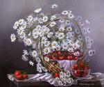 Valevskaya Valentina - Strawberries with daisies.