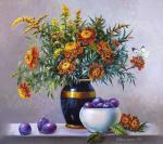 Valevskaya Valentina - Marigolds and plums.