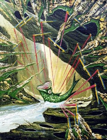 Ловля рыбы в горах на красную леску.