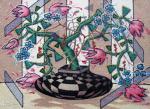 Сизоненко Юрий - Цветочный натюрморт с вазой в шахматную клетку.