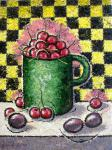Sizonenko Iuori - Cherry on a background of chess cells.