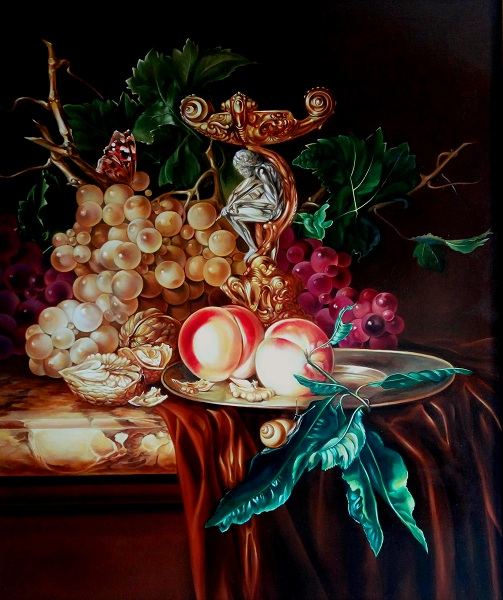 Still life with golden candlestick