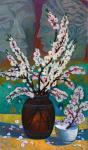 Still life with branches of blossoming apricot