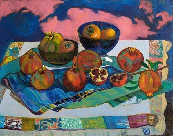 Pomegranates and persimmon