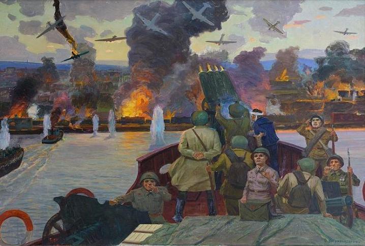 Crossing the Volga river. Stalingrad, 1942