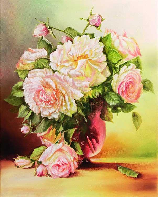 Букет в розовой вазе