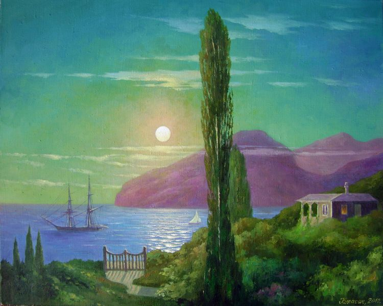 Moonlit night in the Crimea (copy Aivazovsky).