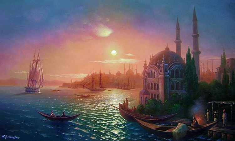 View of Constantinople at lunar lighting.