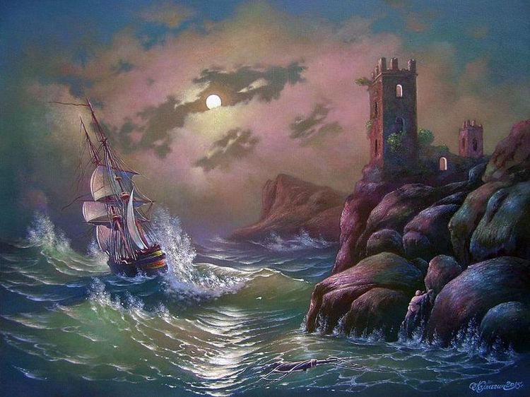 Stormy sea on a moonlit night.