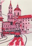 Red Tram. Sketch.