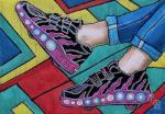 Лиловые кроссовки. Скетч.