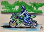 Motorcyclist. Sketch.