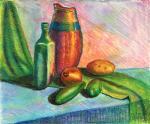 Натюрморт с зелёным шарфом и овощами