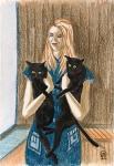 Девушка с котиками. Скетч.
